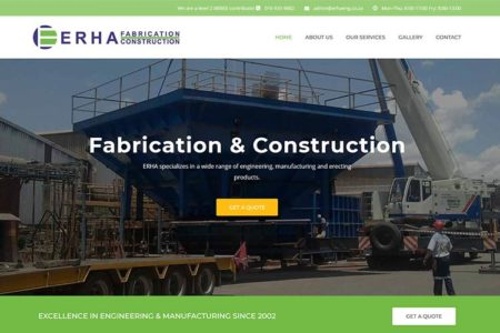 Qum Studios Website Design Portfolio ERHA Fabrication and Construction