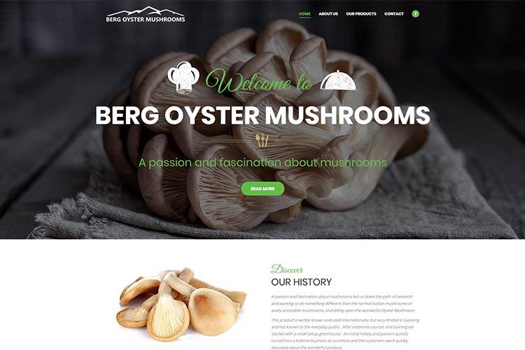 Qum Studios Website Portfolio Berg Oyster Mushrooms